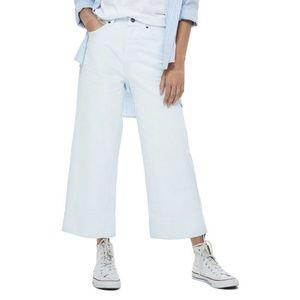 TOPSHOP Pale Blue Crop Wide Leg Jeans sz 8